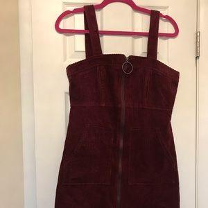 Forever 21 Burgundy Corduroy Zip-Up Dress